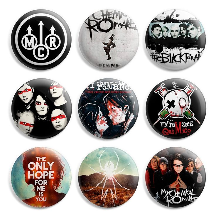 My Chemical Romance MCR Pinback Button Pin Badge (Pack of 9)- 1 inch