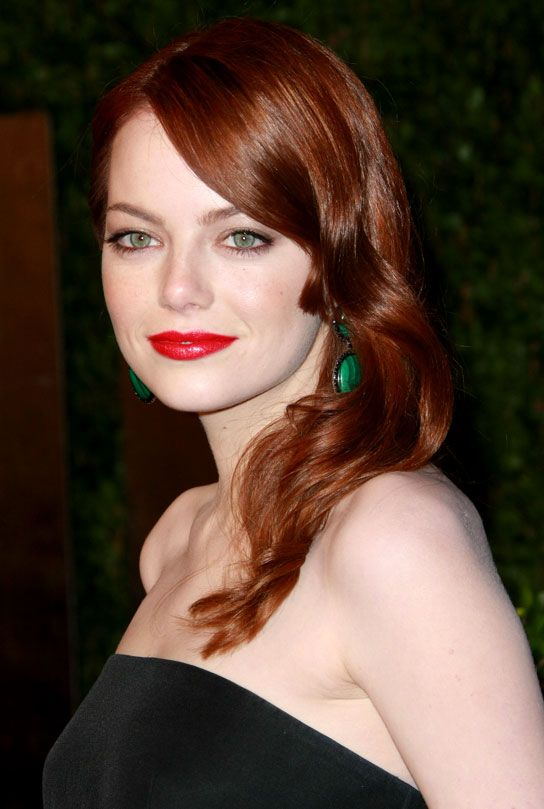 red lips, red hair, green accessories!