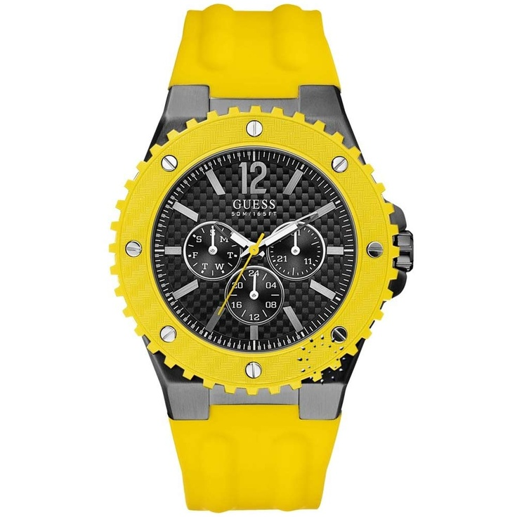 GUESS Overdrive Yellow Rubber Strap  144€  http://www.oroloi.gr/product_info.php?products_id=26778