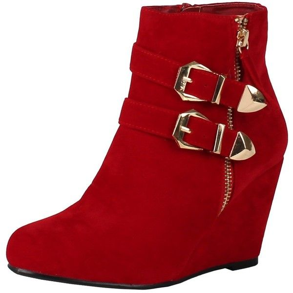 Amazon.com | West Blvd Amman Ankle Wedges Boots, Red Suede, 5.5 |... ($15) ❤ liked on Polyvore featuring shoes, boots, ankle booties, red ankle boots, red booties, suede boots, wedge ankle booties and wide ankle boots