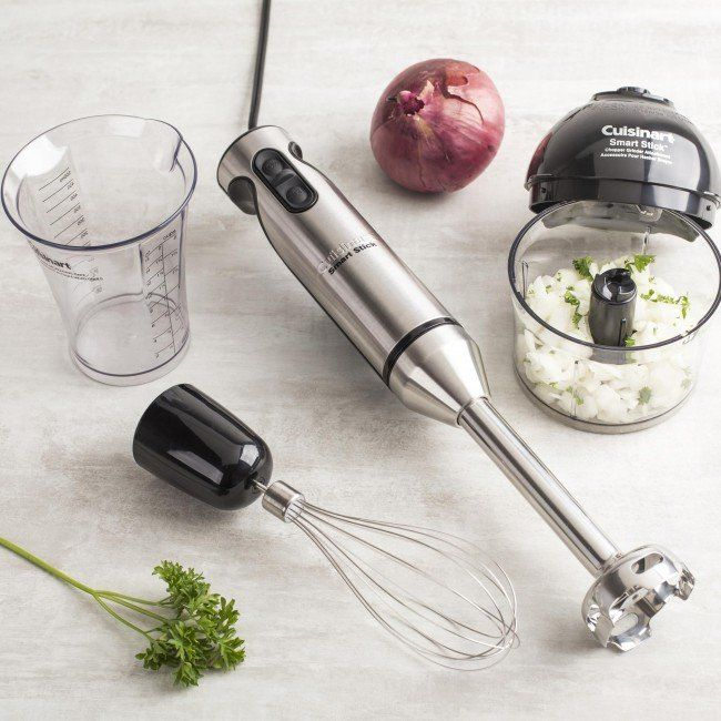 Cuisinart presents a sophisticated hand blender that does a lot more than blend! The elegant brushed stainless steel Smart StickTM Hand Blender has its own chopper/grinder attachment, and enough power to chop nuts, grind hard cheeses, and whip up voluminous meringues and creamy toppings in seconds. Offers the easy operation and cleanup that make Cuisinart a favourite.