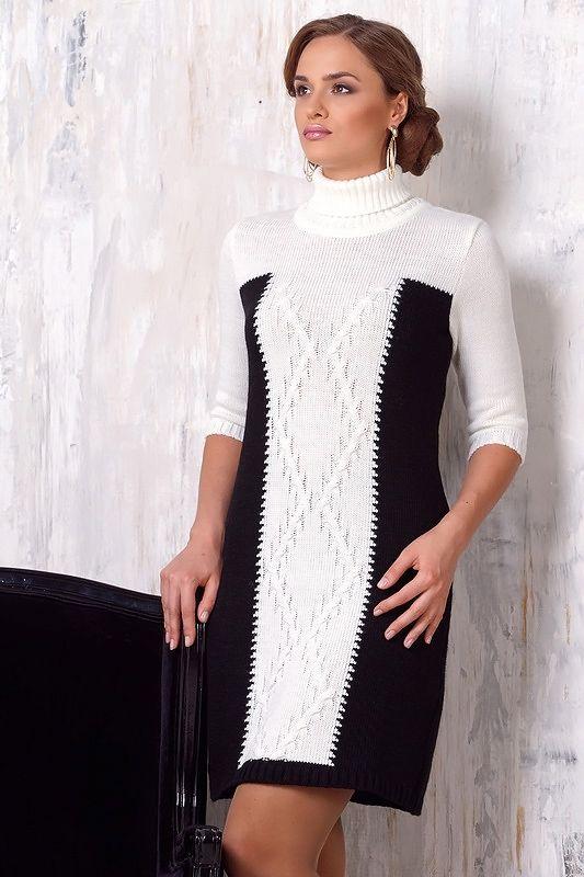 Повседневное трикотажное платье с белыми вставками 2015 - 2016 фото новинки