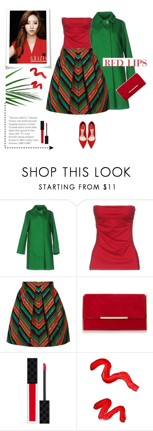 """Red  lips."" by gul07 ❤ liked on Polyvore featuring Pianurastudio, Delpozo, Gucci and Topshop"