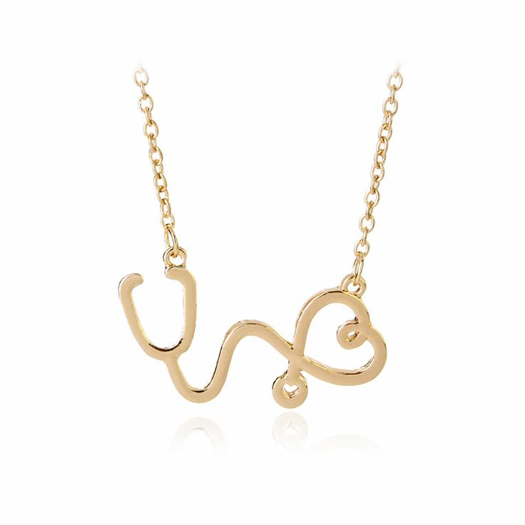 Trendy Gold/Silver/Rose Gold Alloy Jewelry Doctor Stethoscope Shape Love Heart Pendant Necklace Fashion Charm Female Gift #Affiliate