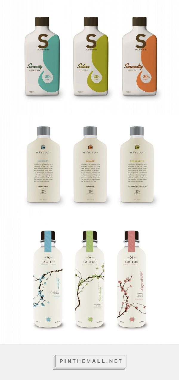 S Factor packaging via CAPSULE Brand Research, Strategy and Design curated by Packaging Diva PD. A salon brand to more clearly communicate the brand attributes of distilled, pure, perfection, luxury, reborn/rebirth, journey and transformation.