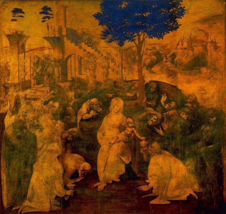 Leonardo da Vinci, Pokłon trzech króli, tempera i olej na desce