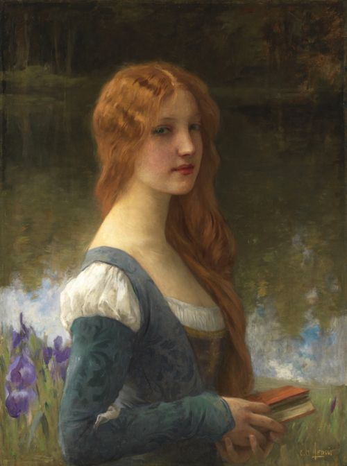 Charles Lenoir...Portrait of a lady in a lakeside setting
