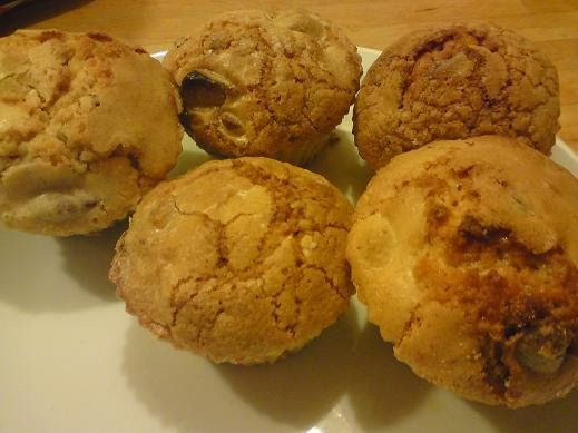 Muffins med makroner, chokolade og mandler er en opskrift jeg engang fandt inde på Jubii's debatforum og den har gemt sig i mappen 'Opskrift...