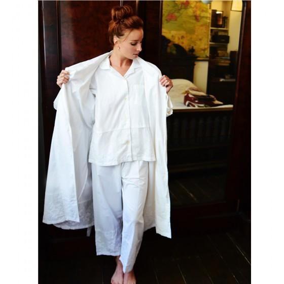 """Julia"" White Embroidered Rose Ladies Pyjamas -  Nightwear - Powell Craft Uk - Putti Fine Furnishings Toronto Canada - 2"