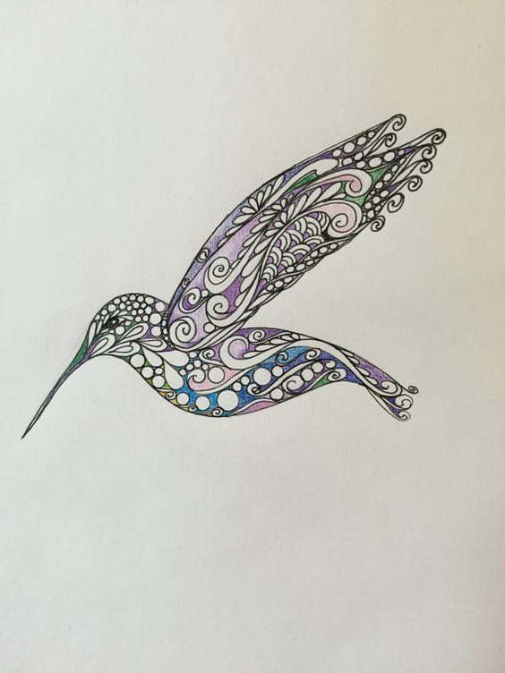 Zentangle Hummingbird, Original hummingbird,colored hummingbird,wall art,hummingbird art,original drawing,zentangle bird: