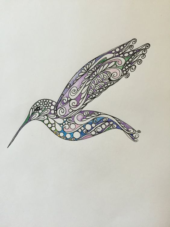 Zentangle Hummingbird, Original hummingbird,colored hummingbird,wall art,hummingbird art,original drawing,zentangle bird: