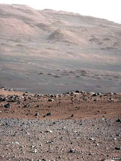 A colour image released by NASA shows Mount Sharp in the background taken by the 34-millimeter Mast Camera on Nasa Curiosity rover on Mars.