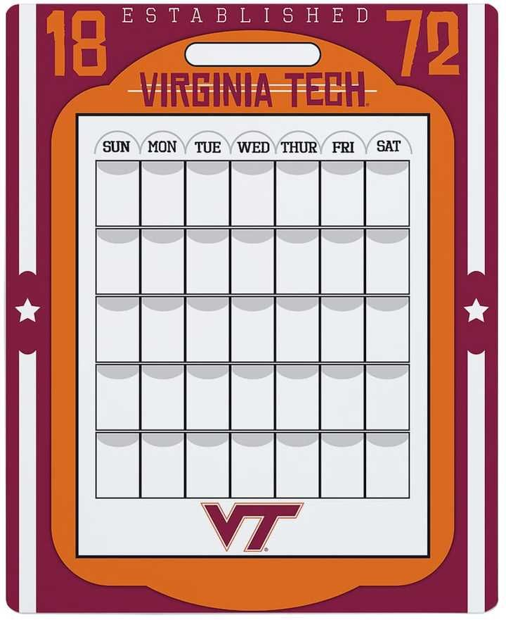 NCAA Virginia Tech Hokies Dry Erase Calendar