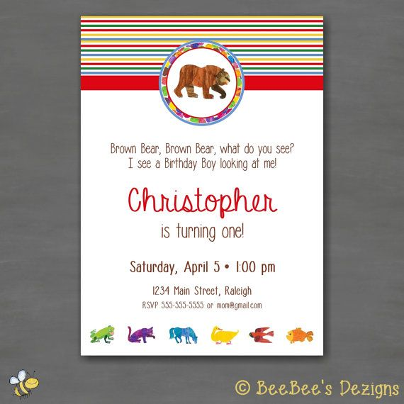 47 best birthday party invitations images on pinterest birthday eric carle brown bear brown bear birthday party invitation stripe custom printable by filmwisefo Choice Image