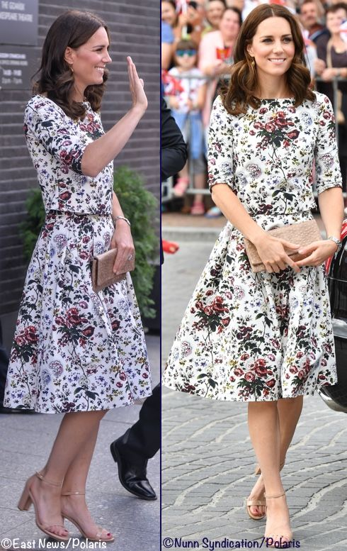 whatkatewore: Royal Tour of Poland, Day 2, July 18, 2017-For her second day in Poland, the Duchess of Cambridge wore an Erdem two piece top and skirt in the 'Hurst Rose' pattern, accessorized with Stuart Weltzman 'Nearly Nude' Ankle Strap Sandals, Etui clutch (a Polish brand), and amber necklace and earrings