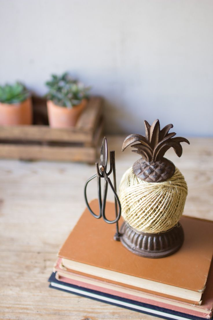 Cast Iron Pineapple Jute & Scissors