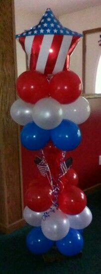 Fourth of July balloon columnIdeas, Dee, Balloons Balloons, Balloons At, Balloons Columns, 4Th Of July, Balloon Columns, 4Th July, July Balloons