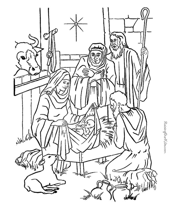 Nativity coloring pages to print