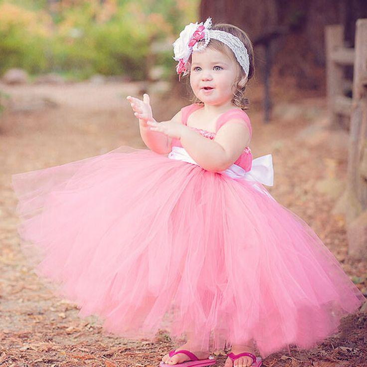 Can be customized handmade DIY baby girl princess tutu dress Kid sweet pink tutu dress Beautiful party dress Cosplay clothes