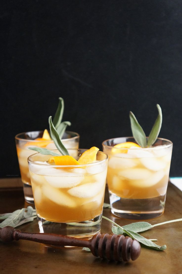 Honey winter bourbon cocktail with honey sage syrup for Honey whiskey drink recipes