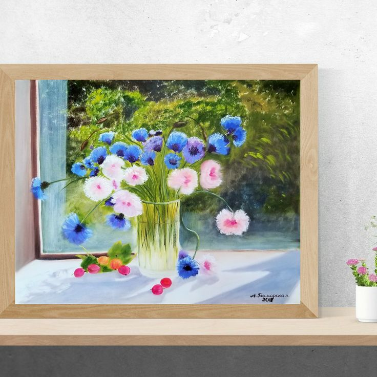 """Vase with Cornflowers and Daisies. Mothers day gift. Gift for mom. Wall Art. Home Decor. Gift for her. Wall Decor. Original Oil Painting on Canvas. 16"""" x 20"""". 40,6 x 50,8 cm. 2018. Unframed. Painted Edges. Ready to Hang. AVAILABLE FOR IMMEDIATE PURCHASE.  #mothersdaygift #mothersday #oilpainting #originalpainting #homedecor #wallart #wallhanging"""