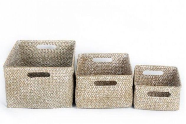 Details About Set Of 3 Straw Grass Square Baskets With Handles Eco Friendly Home Storage Retro Eco Friendly House Toiletry Storage Square Baskets