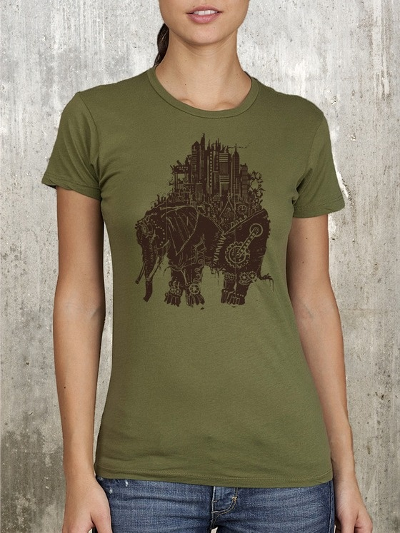 Women's T-Shirt - Steampunk Elephant Illustrated in Woodblock Print Style $22.50