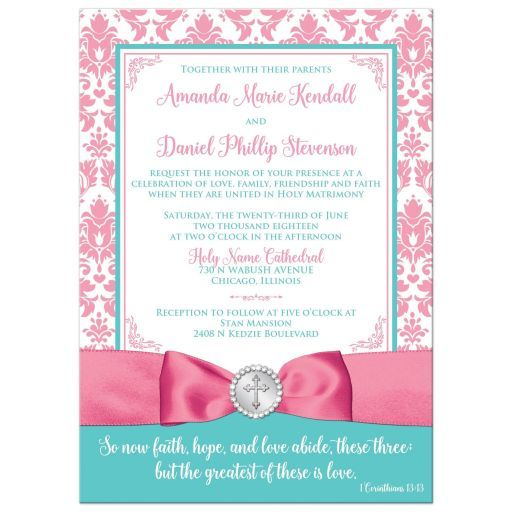 This soft and romantic Christian wedding invitation in pink, aqua, and white damask also lets people know how important your Christian faith is to you both. The printed on pink ribbon and bow has a round printed on silver button medallion with...