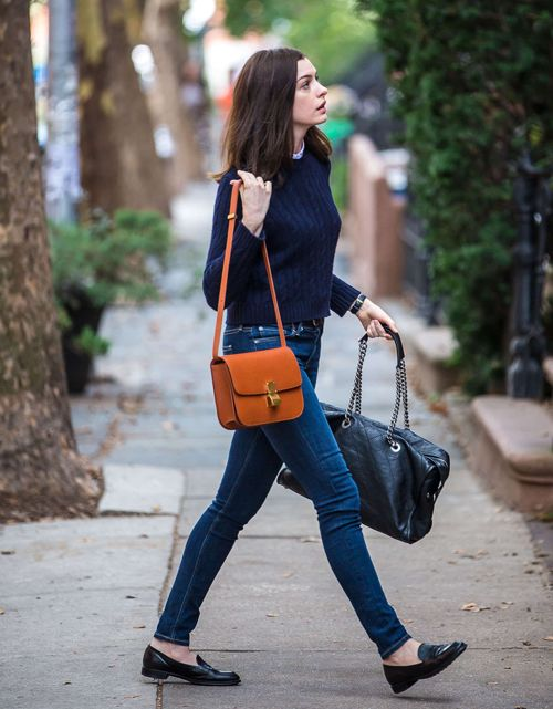 jeans, loafers, jumper, navy, satchel, leather, long bob, simple, comfy, casual, style