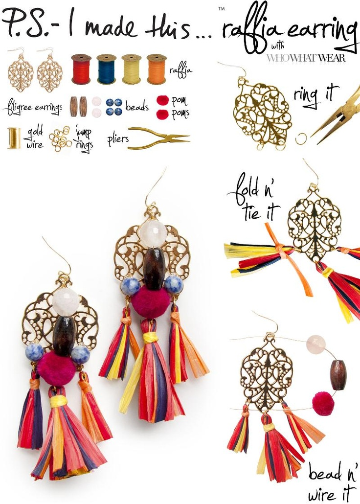 P.S.-I made this...Raffia Earring with @Alex Leichtman M What Wear inspired by @Jenn L Souza & Gabbana