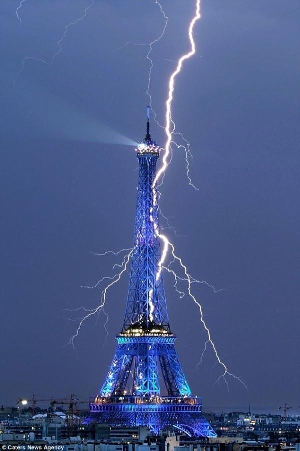 Eiffel Tower with Lightning, Paris, France