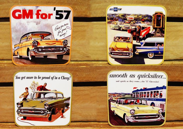 MUG COASTERS - SET OF 4  - 1957 CHEVY, 57 CHEV - OLD ADVERTS