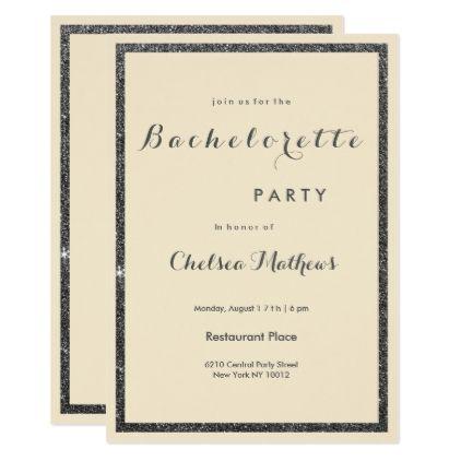 Modern ivory black faux glitter Bachelorette Card - faux gifts style sample design cyo