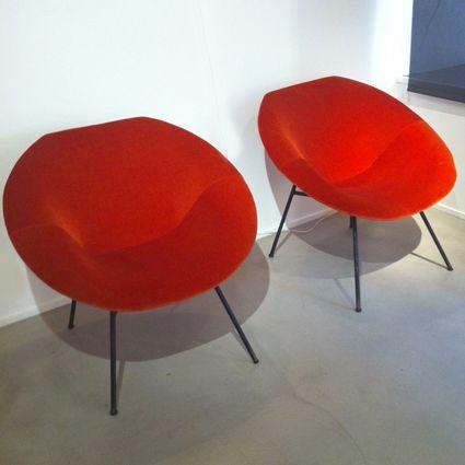 Claude Vassal; Enameled Metal Frame Lounge Chairs, 1950s.