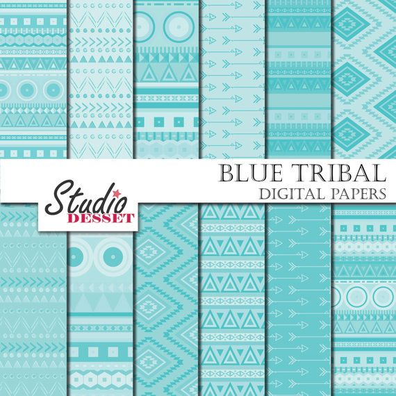 Blue Tribal Papers  Aztec Arrows Papers Ethnic by StudioDesset, $3.60
