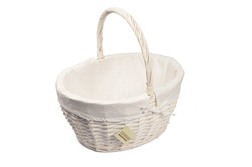 From 12.99 Large Oval White Wicker Storage Hamper Basket W/lining Xmas Gift Hamper