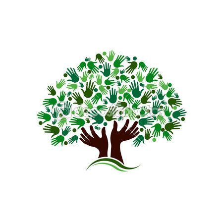 Friendship connection tree image. Hands on hand tree logo — Stock Illustration #47788399