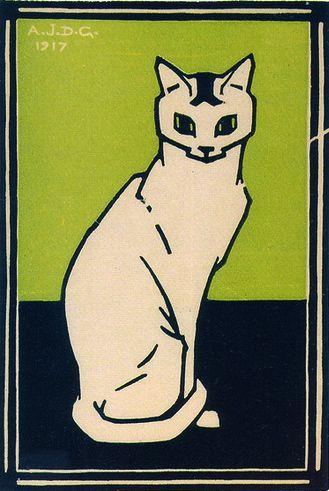 Julie de Graag (1877-1924) - Witte kat, houtsnede, 1917