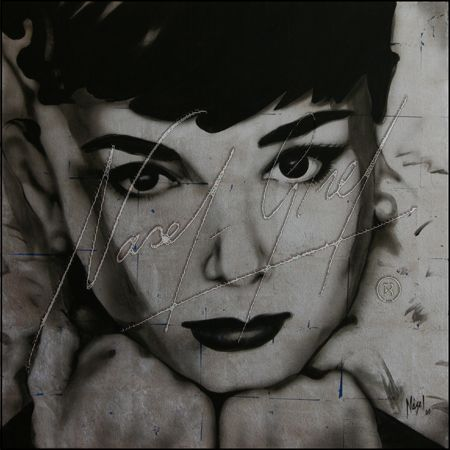 SILVER AUDREY original by Nasel. Acrylic on canvas & silver leaves. 90x90cm. Available on digital reproduction. Check prices and sizes www.popartnasel.com #audrie #hepburn #silver #portrait #pop #art