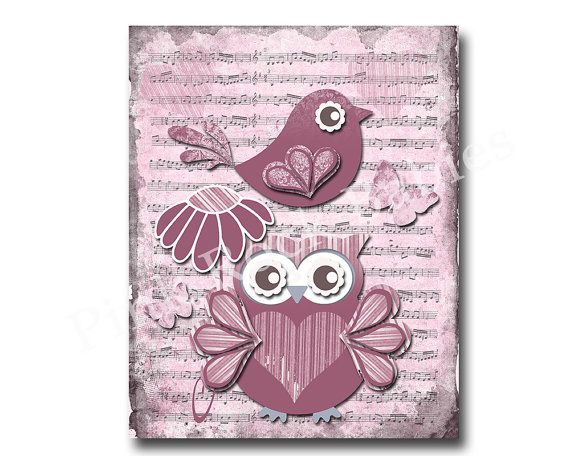 Nursery art baby girl wall decor music and bird by PinkRockBabies