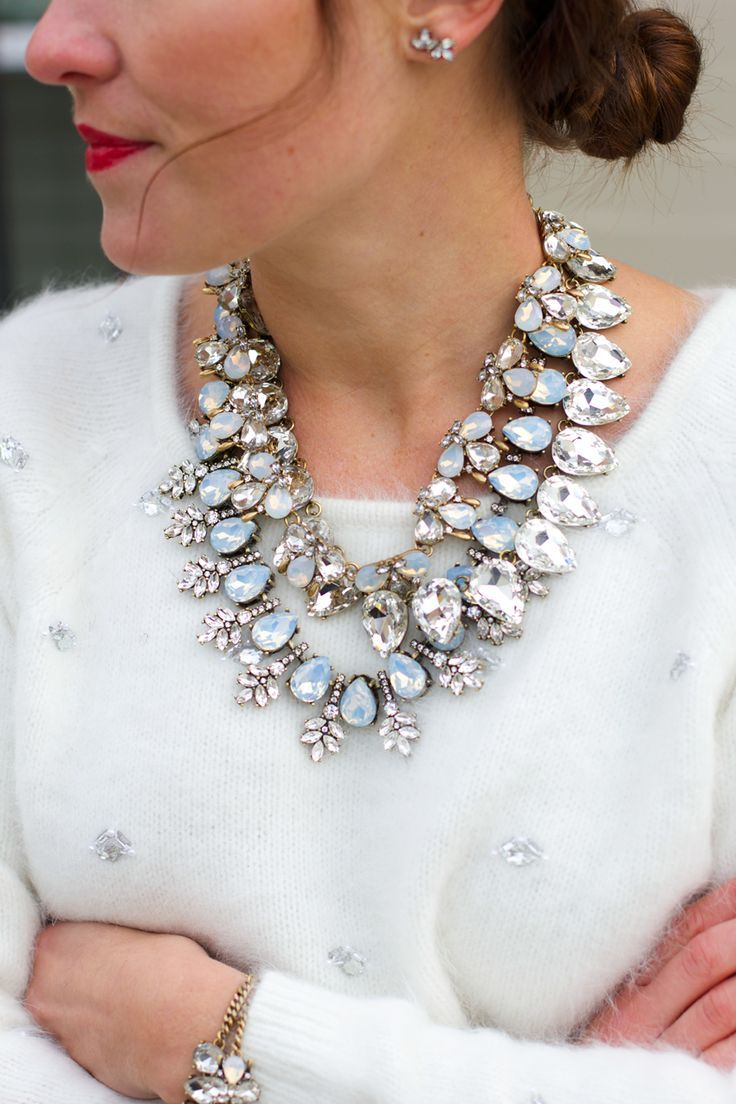 Holiday Party Fashion. Glam statement necklaces: