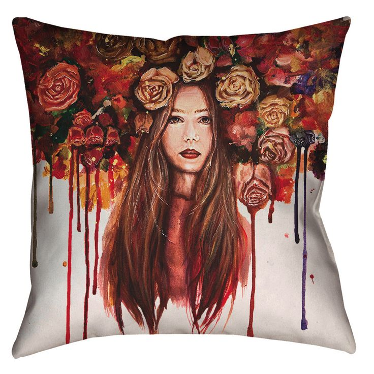 Roses Are Red - Pillow   About the pillow: Made and printed in the U.S.A, spun polyester fabric, designed for idoor use.  About the art and printing: Painted on canvas with acylic color and then printed direcltly on fabric with higth quality print