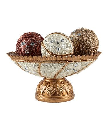 This Bowl & Floral Decorative Orbs Set is perfect! #zulilyfinds