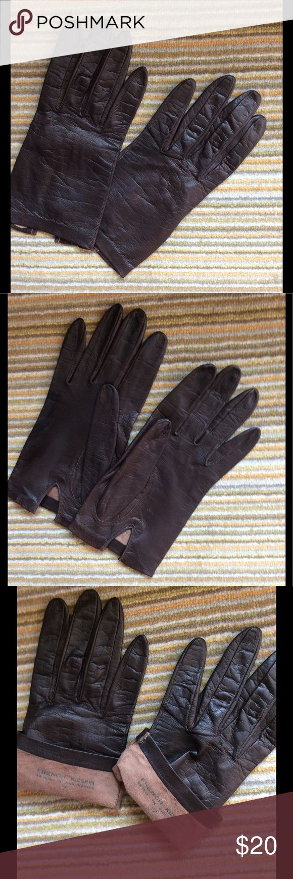 Mens leather kid gloves - Vintage Brown Kid Leather Driving Gloves Sz 7 Evc
