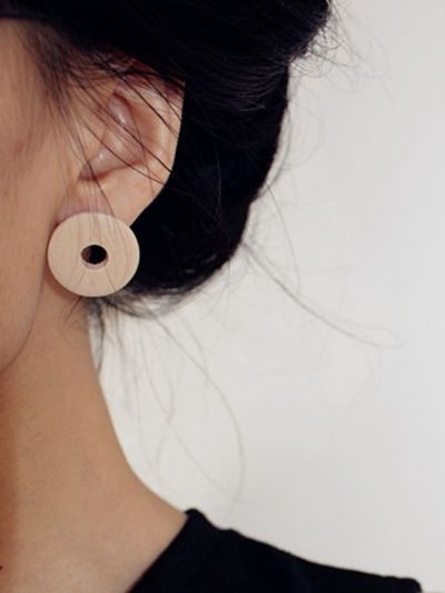 Burlywood Round Shape Wooden Earrings