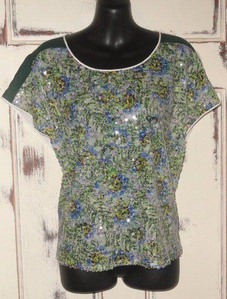 Women's Christmas Dress Shirt Top Small CLOVER CANYON Sequin Green #CloverCanyon #Blouse #EveningOccasion
