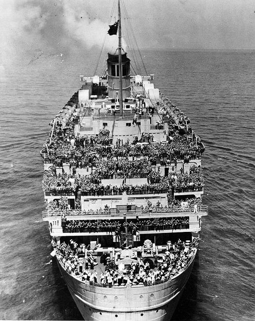 "The RMS Queen Mary was turned into a troop ship during WWII, nicknamed ""The Grey Ghost"" for her speed and inability to be seen by enemy ships. At one time, as many as 14 thousand Allied troops were aboard..."