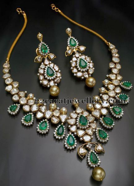 Diamond Set with Pear Shaped Emeralds - gold jewellery designs, artificial jewellery earrings, estate jewelry *ad
