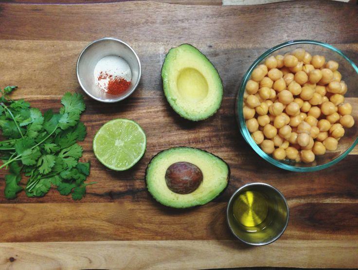 Avocado Hummus Recipe 1 16oz can chickpeas (garbanzo beans) 1 avocado cilantro -small bunch (optional) 1/2 lime 2 tbsp olive oil 1/2 tsp garlic powder 1/4 tsp salt 1/4 tsp cayenne pepper -blend until smooth in food processor