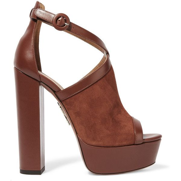 Aquazzura Issa suede and leather platform sandals ($625) ❤ liked on Polyvore featuring shoes, sandals, brown, bohemian sandals, brown strappy sandals, block heel sandals, leather sandals and platform sandals